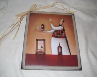 Wine Waiter Chef holding tray glasses Bistro Decor Wooden kitchen signs wall art