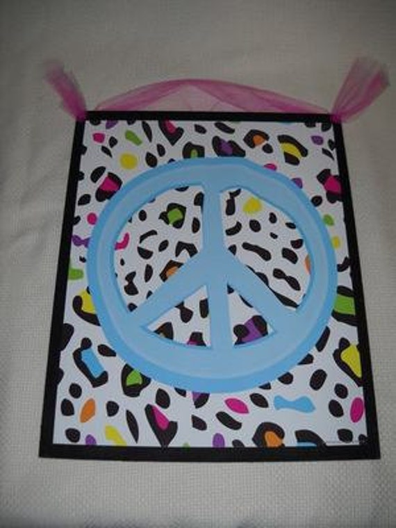 Peace Sign Bedroom Accessories: Items Similar To Blue Peace Sign On Rainbow Leopard Animal