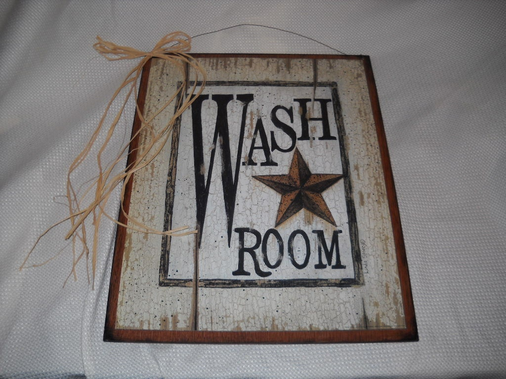 Country Bathroom Decor: Items Similar To Barn Star Wash Room Country Bath Sign