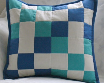 Patchwork pillow teal and blue