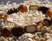 Amber and Maroon Bracelet and Earring Set, Amber Lampwork Beaded Bracelet, Maroon Beaded Bracelet
