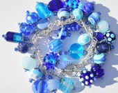 Blue Lampwork Charm Bracelet or Blue Glass Cha Cha Bracelet