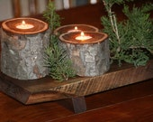 Rustic Christmas Candle Holders