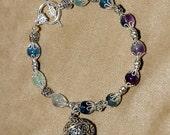 Fluorite and Silver Bracelet with Prayer Box- size 7.5