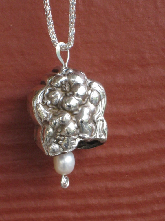 antique silverplate knife bell necklace pendant antique