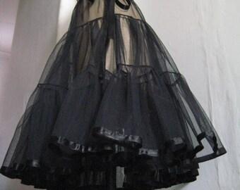 Petticoat, Black fine net, Three Tier, Ribbon Tie at waist.