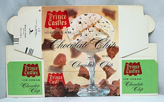Vintage Prince Castle Ice Cream Carton Advertising - Chocolate Chip - 1960s - Restaurant
