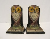 Vintage Cast Iron Owl Bookends PRICE REDUCED