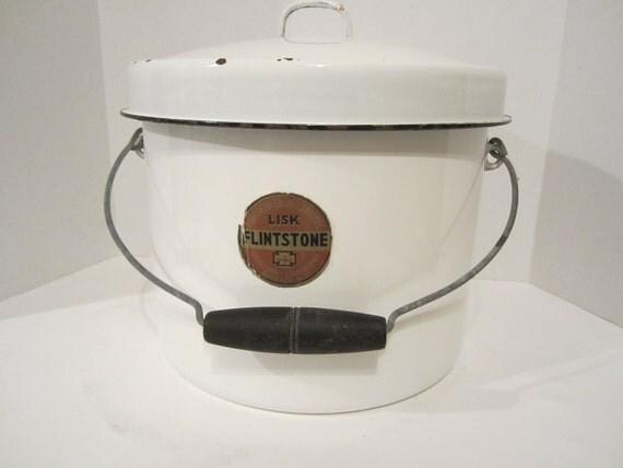 Vintage Lisk Enamelware Pot With Wooden Handle And Lid