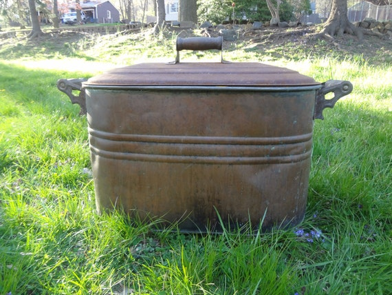 Vintage Copper Boiler Tub With Tin Lid