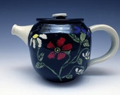 Ceramic Teapot - Handmade, Hand-Painted with Floral Design