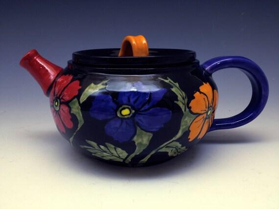 Teapot - Beautiful Hand-painted, Handmade Floral Ceramic Teapot