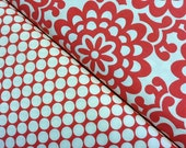 DUO: Wall Flower and Full Moon Polka Dot in Cherry from the Amy Butler Lotus Collection, 2 yards total