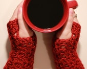 The Luna Crochet Fingerless Gloves / Wristwarmers in Autumn Red