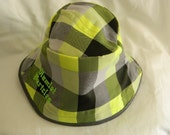 Checkered square lime green-grey bucket hat by Hamlet Pericles