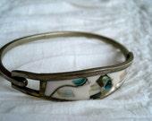 1970s Vintage Silver plated Abalone Bracelet
