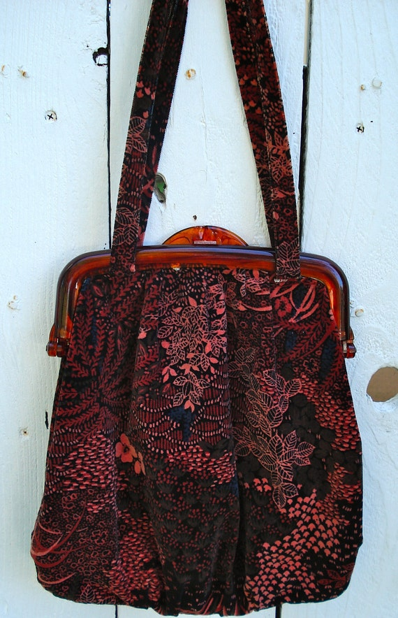Vintage 1970s 1980s Velour Knitting Purse with Lucite opening