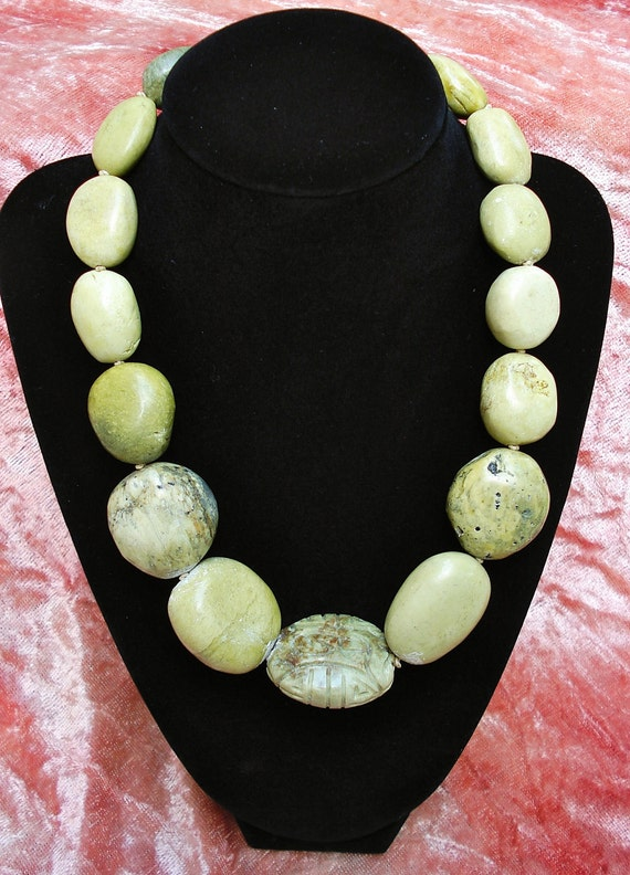 Vintage 1980s Chunky Lime Green Turquoise Necklace, Sterling Silver Toggle Closure