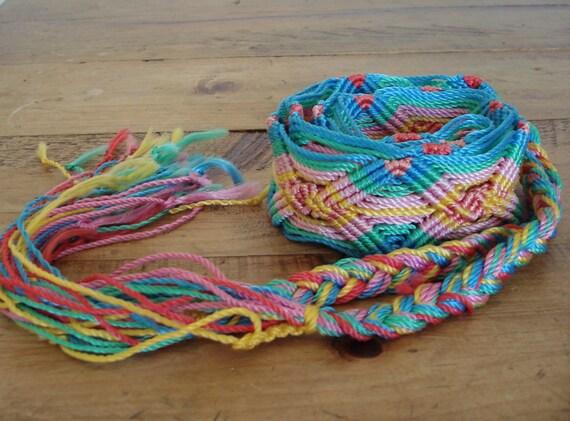 Vintage Handmade Woven Braided Rainbow Macrame Belt