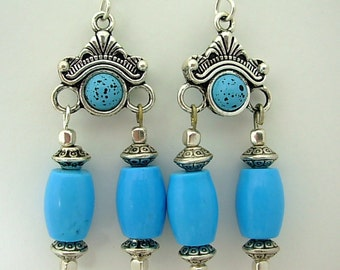December Birthstone, Turquoise & Silver Chandelier Earrings, Southwest Style