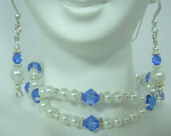 Swarovski Sapphire and Pearl Bracelet & Earring SET, Prom, Bridal, Pageant Wear