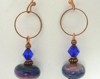 Cobalt Blue,Purple,Grey Lampwork & Copper Earrings
