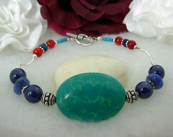 Premium Turquoise, Lapis, Red Coral, Sterling Silver,Bracelet SET
