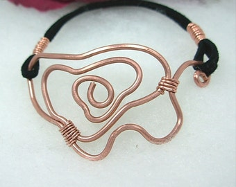 Unisex Copper Wire Art Bracelet with Black Leather, hand formed Abstract copper wire design, unique, ooak, unisex gift under 25