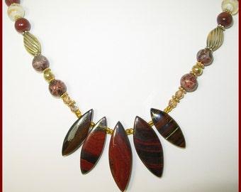 Earthtones,Necklace & Earring SET,Bronzite,Swarovski,Vermeil,Lampwork,Jasper