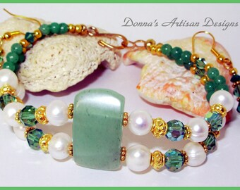 14K Vermeil, Jade, Pearl Two Strand Bracelet & Earrings, Swarovski, Adventurine