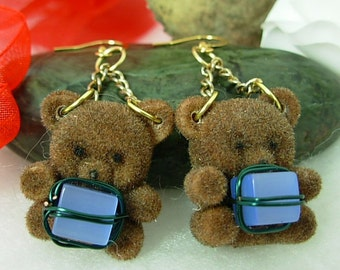 Teddy Bear Christmas Earrings, BEARing Gifts, Gift Idea