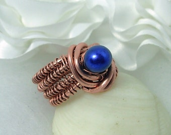 Copper & Purple Freshwater Pearl, Wrapped Ring