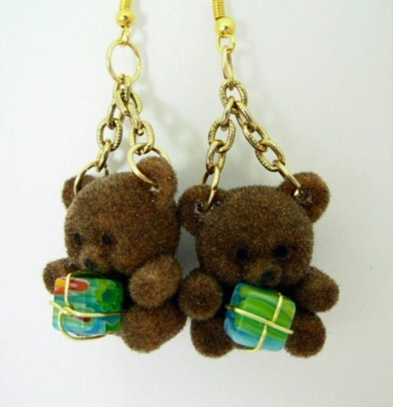 Teddy Bear Christmas Earrings