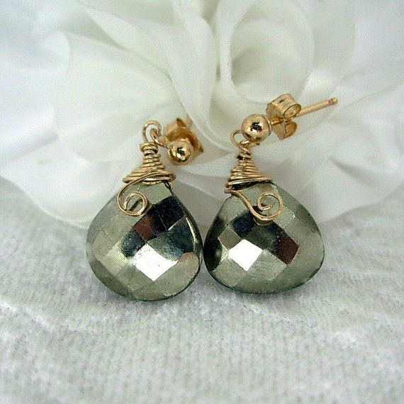 14K Gold Fill & Pyrite Earrings, Wire wrapped, Gold Post, GREAT Gift Idea