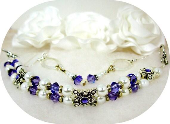 2 Strand Swarovski Tanzanite &White Glass Pearl, Silver Bracelet Earrings SET, Purple