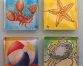 Colorful Sealife Glass Magnets