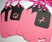 Dog Gift Tags in Pink and Black