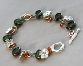 fashion bracelet - green teardrop with silver and orange accent