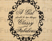 Girl Classy Fabulous Coco Chanel Quotes - Burlap Digital Download Paper Word Text Typography Image Transfer To Pillows Bag Tea Towels b138