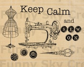 Keep Calm and Sew On Antique Sewing Machine - Burlap Digital Download Paper Typography Image Transfer To Cushions Pillows Tea Towels b423
