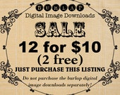 SALE 12 Images for 10 Dollars - Bundle Burlap Digital Download Paper Fabric Iron On Transfer To Cushions Pillows Tote Bag Tea Towels