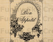 Bon Appetite French Ornate Frame - Burlap Digital Download Paper Word Text Typography Image Transfer To Pillows Tote Bag Tea Towels b504