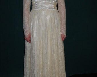 1960's (or before) wedding dress sheer high neckline