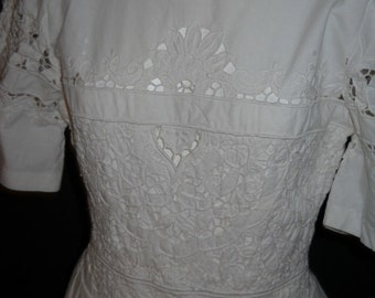 1980's Cut-work Embroidery Dress (dr08)