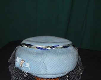 1950s Glenover Hat by Henry Pollak Powder Blue