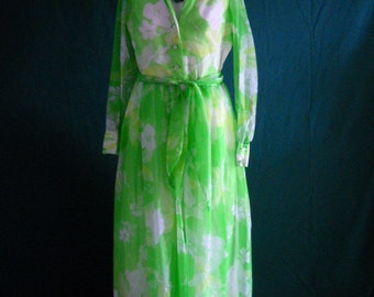 Sheer Lime Green Long Dress from 1960's 100% Nylon