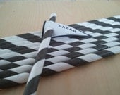 50 Black Striped Straws with Printable DIY Custom Pennant Toppers