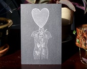 Anatomy love screenprinted postcard