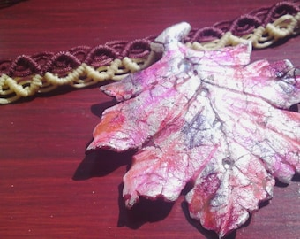 OOAK Macrame Choker necklace Polymer clay maple leaf  silver impression red brown yellow knotted by Orchid's Orchard