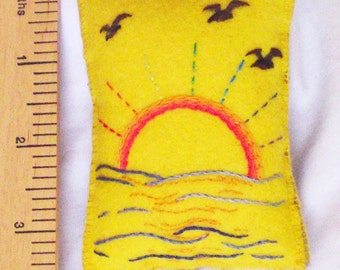 Pincushion embroidered sunrise sea rainbow rays birds on felt by Orchid's Orchard
